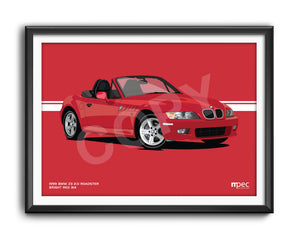 Landscape Illustration 1999 BMW Z3 2.0 Roadster Bright Red 314