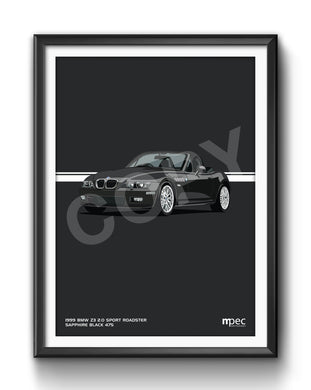 Print of 1999 BMW Z3 2.0 Roadster in Sapphire Black 475