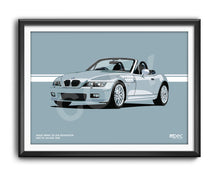 Load image into Gallery viewer, Landscape Print of 2000 BMW Z3 2.8 Roadster in Arctic Silver 309