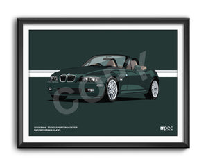 Landscape Print of 2001 BMW Z3 3.0 Sport Roadster in Oxford Green II 430