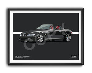 Landscape Print of 1998 BMW Z3 M Roadster in Cosmos Black 303 with red and black seats