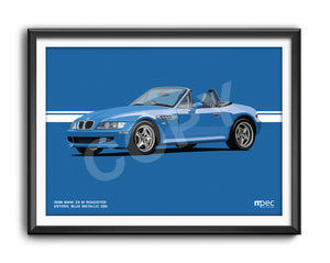 Landscape Print of 1998 BMW Z3 M Roadster in Estoril Blue Metallic 335