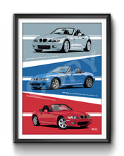 Load image into Gallery viewer, Combined Print of 3 off BMW Z3 Roadsters