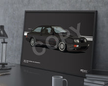 Load image into Gallery viewer, Landscape Illustration 1987 Ford Sierra RS Cosworth Black A6