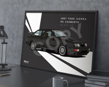 Load image into Gallery viewer, Landscape Print of 1987 Ford Sierra RS Cosworth in Black A6 - Lines