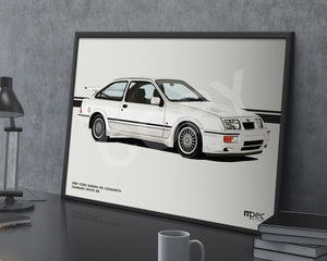 Landscape Print of 1987 Ford Sierra RS Cosworth in Diamond White B3