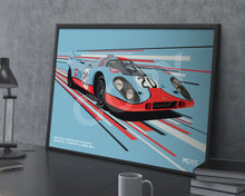 Load image into Gallery viewer, Landscape Print of 1970 Gulf Porsche 917 KH Coupé