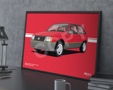 Load image into Gallery viewer, Landscape Print of 1986 Vauxhall Nova 1.3 SR in Carmine Red 76L