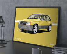 Load image into Gallery viewer, Landscape Print of 1986 Vauxhall Nova 1.3 SR in Jamaica Yellow 59L