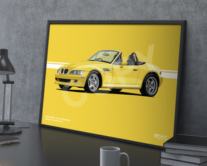 Landscape Print of 1998 BMW Z3 M Roadster in Dakar Yellow 337