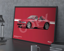 Load image into Gallery viewer, Landscape Illustration 1998 BMW Z3 M Roadster Imola Red 405