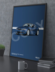 Print of 2001 BMW Z3 3.0 Sport Roadster in Topaz Blue 364