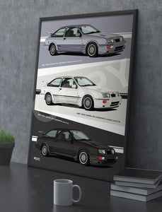 Combined Print of all 3 1987 Ford Sierra RS Cosworths, in Blue, Black & White