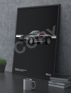 Print of 1998 BMW Z3 M Roadster in Cosmos Black 303 with red and black seats