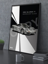 Load image into Gallery viewer, Print of 1993 McLaren F1 in Magnesium Silver - Lines