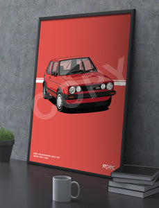 Print of 1983 Volkswagen Golf GTI in Mars Red LA3A