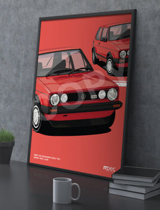 Illustration 1983 Volkswagen Golf GTI Mars Red LA3A