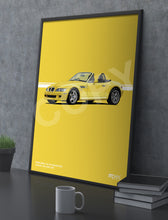 Load image into Gallery viewer, Print of 1998 BMW Z3 M Roadster in Dakar Yellow 337