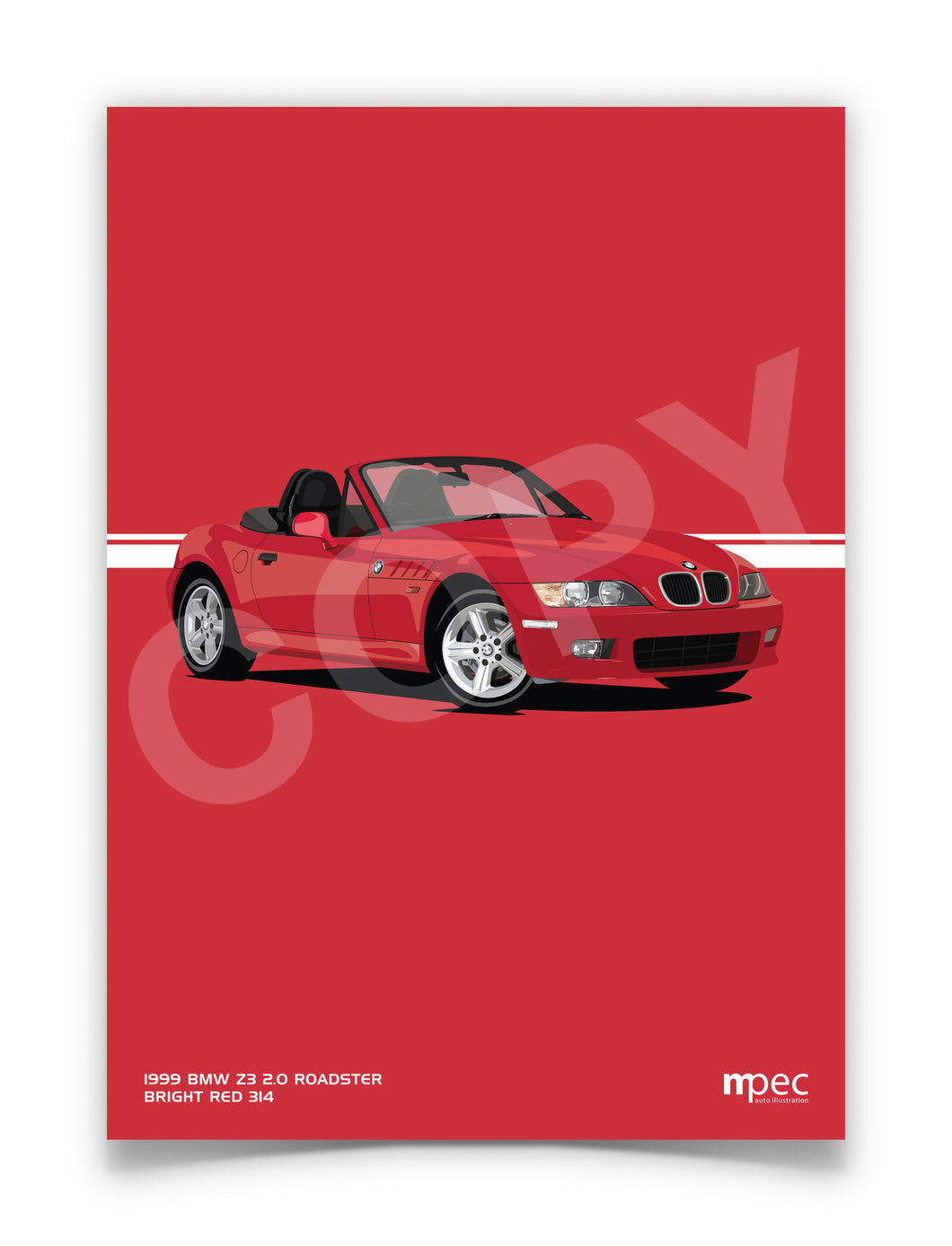 Print of 1999 BMW Z3 2.0 Roadster in Bright Red 314