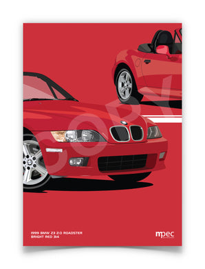 Print of 1999 BMW Z3 2.0 Roadster in Bright Red 314 - Close Ups