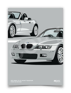 Print of 2001 BMW Z3 2.2 Roadster in Titan Silver 354 - Close Ups