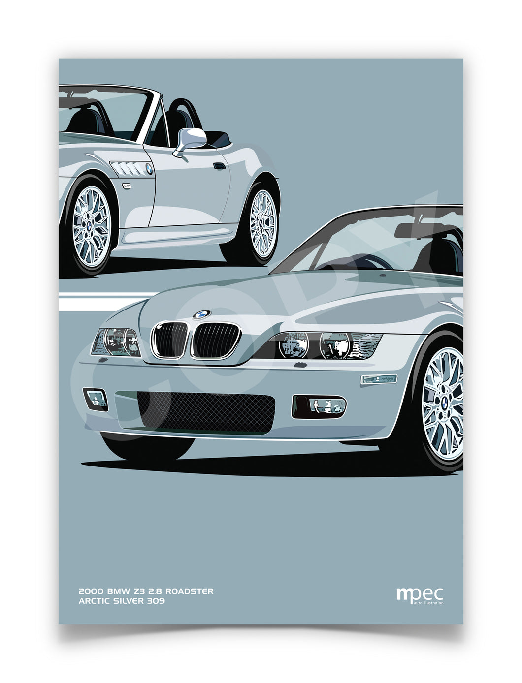 Print of 2000 BMW Z3 2.8 Roadster in Arctic Silver 309 - Double