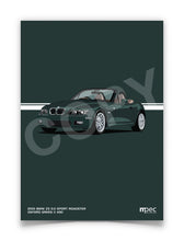 Load image into Gallery viewer, Print of 2001 BMW Z3 3.0 Sport Roadster in Oxford Green II 430