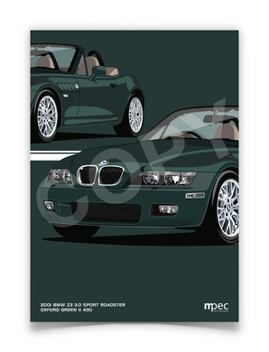 Print of 2001 BMW Z3 3.0 Sport Roadster in Oxford Green II 430 - Close Ups