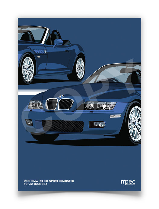 Print of 2001 BMW Z3 3.0 Sport Roadster in Topaz Blue 364 - Close Ups
