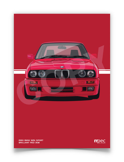Illustration 1990 BMW E30 325i Sport Brilliant Red 308
