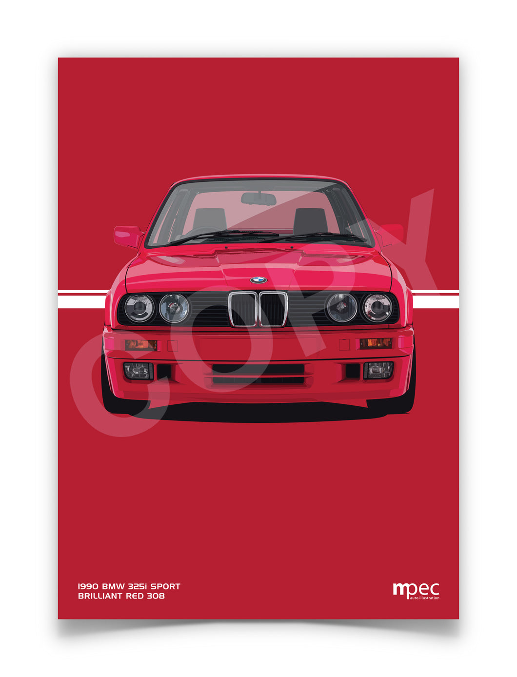 Print of 1990 BMW E30 325i Sport in Brilliant Red 308