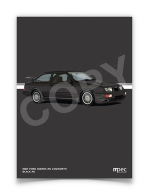 Print of 1987 Ford Sierra RS Cosworth in Black A6