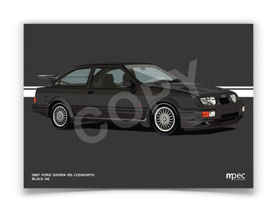 Landscape Print of 1987 Ford Sierra RS Cosworth in Black A6