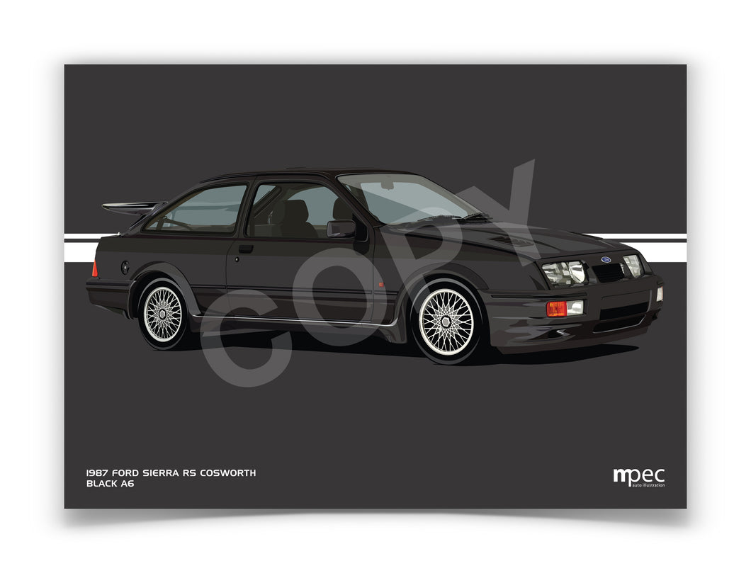 Landscape Illustration 1987 Ford Sierra RS Cosworth Black A6