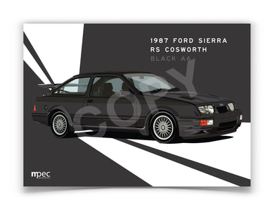 Landscape Print of 1987 Ford Sierra RS Cosworth in Black A6 - Lines