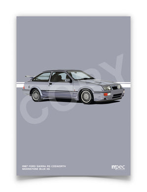 Print of 1987 Ford Sierra RS Cosworth in Moonstone Blue K6