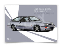 Load image into Gallery viewer, Landscape Illustration 1987 Ford Sierra RS Cosworth Moonstone Blue K6 - Lines