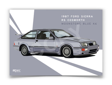 Landscape Print of 1987 Ford Sierra RS Cosworth in Moonstone Blue K6 - Lines