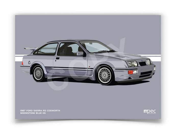 Landscape Illustration 1987 Ford Sierra RS Cosworth Moonstone Blue K6