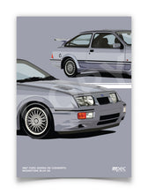 Load image into Gallery viewer, Print of 1987 Ford Sierra RS Cosworth in Moonstone Blue K6 - Close Ups