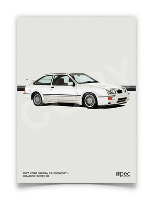 Print of 1987 Ford Sierra RS Cosworth in Diamond White B3