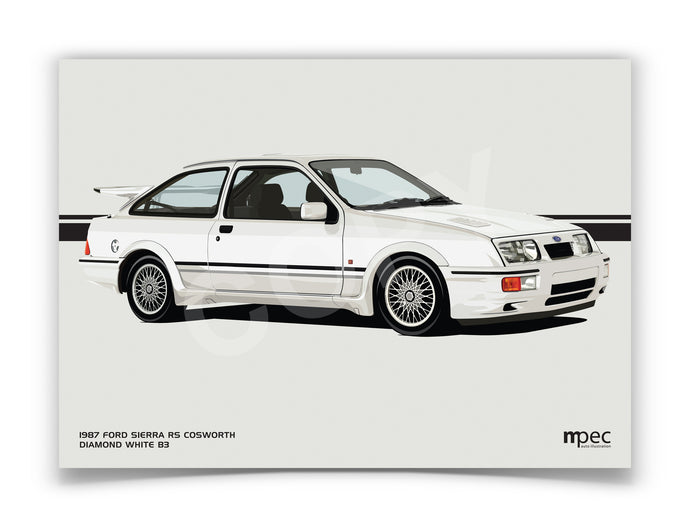 Landscape Illustration 1987 Ford Sierra RS Cosworth Diamond White B3