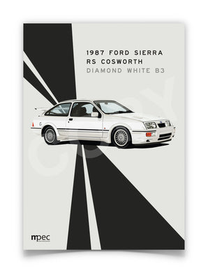 Print of 1987 Ford Sierra RS Cosworth in Diamond White B3 - Lines