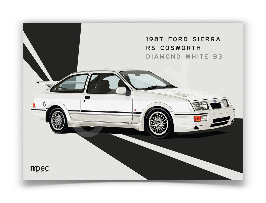 Landscape Print of 1987 Ford Sierra RS Cosworth in Diamond White B3 - Lines