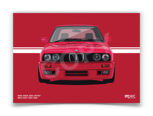 Load image into Gallery viewer, Landscape Print of 1990 BMW E30 325i Sport in Brilliant Red 308