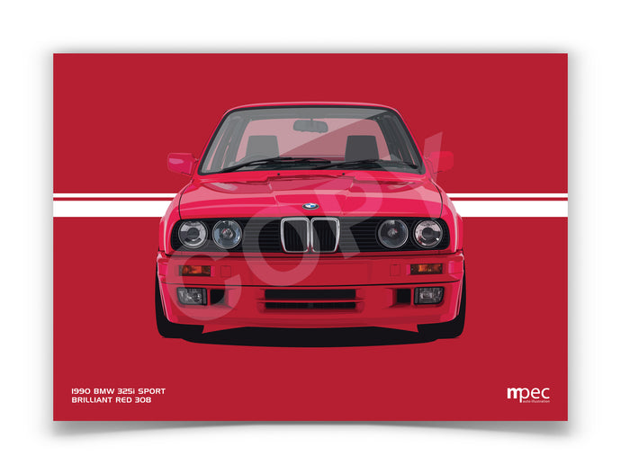 Landscape Illustration 1990 BMW E30 325i Sport Brilliant Red 308
