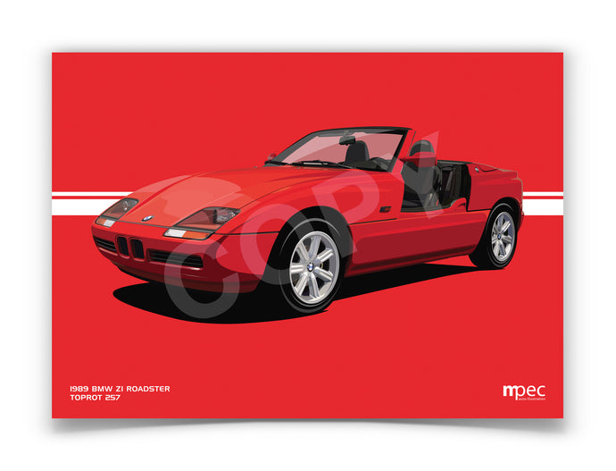 Landscape Illustration 1989 BMW Z1 Roadster Toprot 257