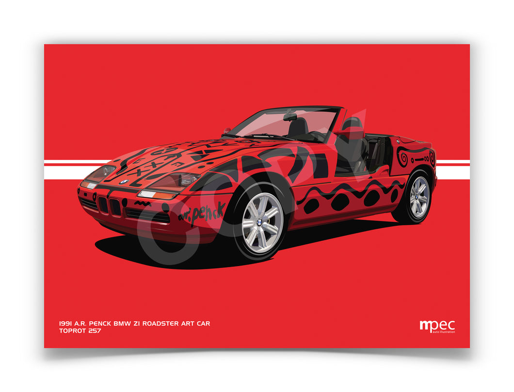 Landscape Print of 1991 A.R. Penck BMW Z1 Roadster Art Car in Toprot 257