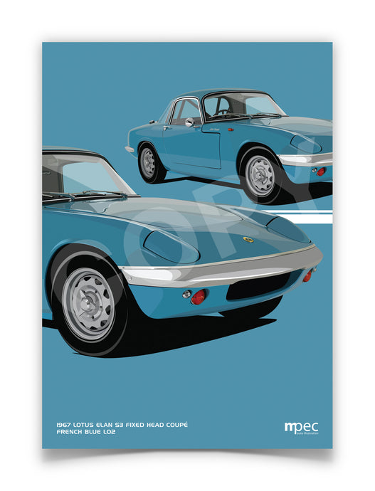 Illustration 1967 Lotus Elan French Blue L02