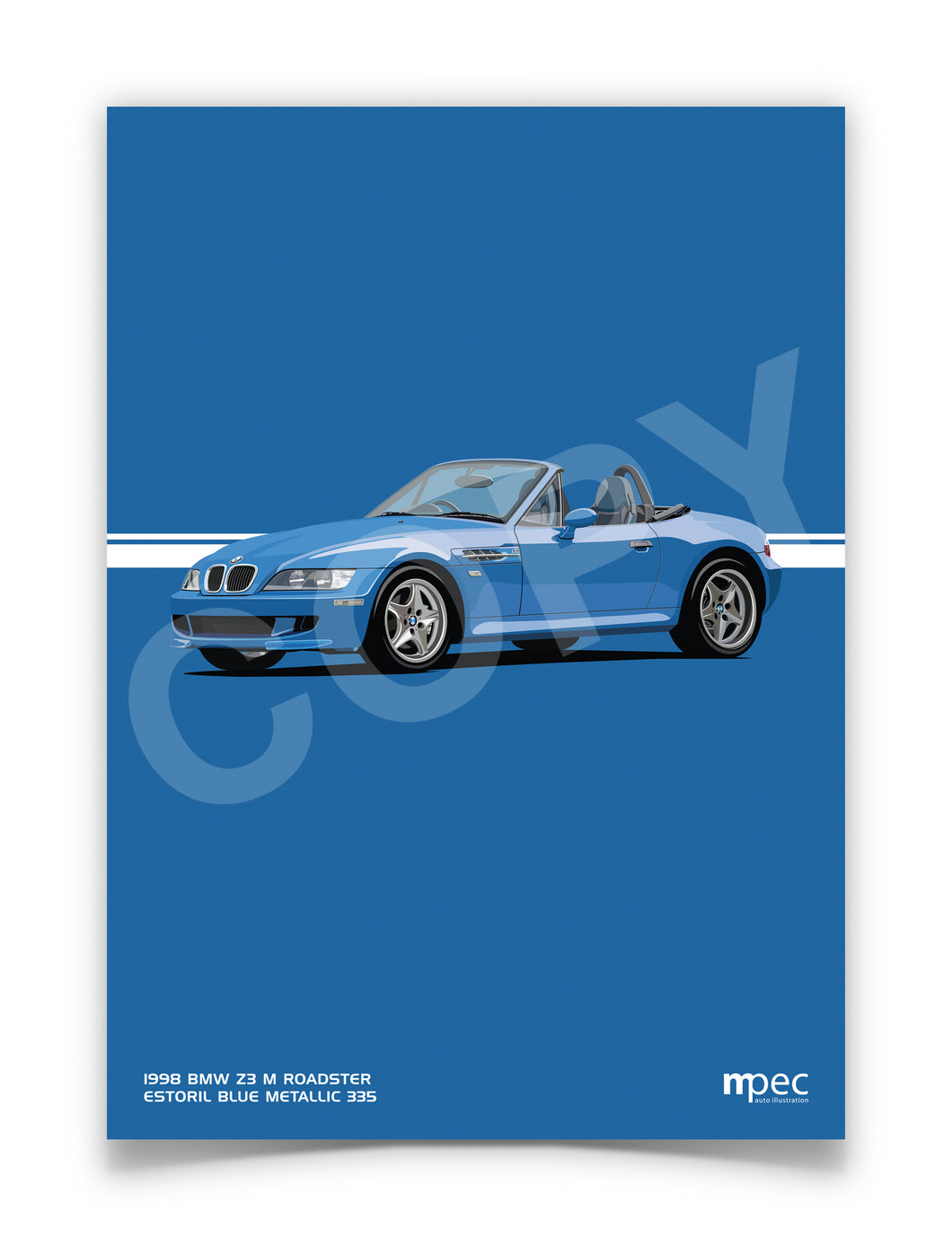 Print of 1998 BMW Z3 M Roadster in Estoril Blue Metallic 335